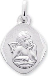 Médaille Ange Or 9ct Blanc